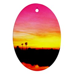 Pink Sunset Ceramic Ornament (Oval)