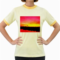 Pink Sunset Colored Ringer Womens  T-shirt