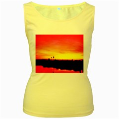 Pink Sunset Yellow Womens  Tank Top
