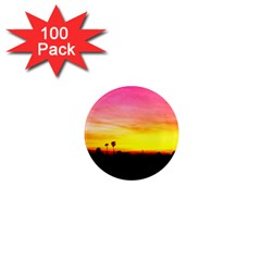 Pink Sunset 100 Pack Mini Magnet (round)