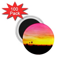 Pink Sunset 100 Pack Small Magnet (Round)