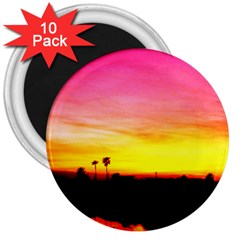 Pink Sunset 10 Pack Large Magnet (Round)