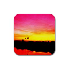 Pink Sunset 4 Pack Rubber Drinks Coaster (Square)