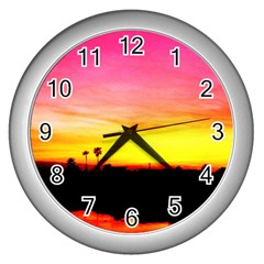 Pink Sunset Silver Wall Clock