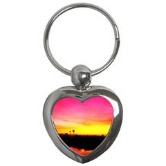 Pink Sunset Key Chain (Heart)