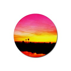Pink Sunset Rubber Drinks Coaster (round)