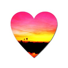 Pink Sunset Large Sticker Magnet (Heart)