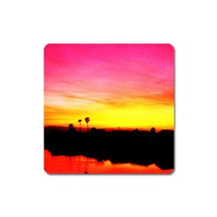 Pink Sunset Large Sticker Magnet (Square)