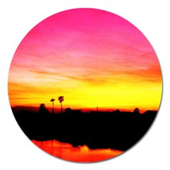 Pink Sunset Extra Large Sticker Magnet (Round)