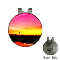 Pink Sunset Hat Clip With Golf Ball Marker