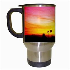 Pink Sunset White Travel Mug