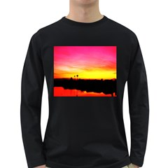 Pink Sunset Dark Colored Long Sleeve Mens'' T Shirt