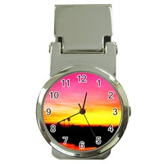 Pink Sunset Chrome Money Clip with Watch