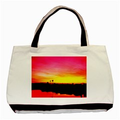 Pink Sunset Black Tote Bag