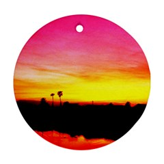 Pink Sunset Twin Sided Ceramic Ornament (round)
