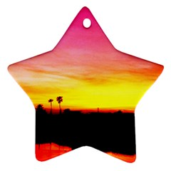 Pink Sunset Twin Sided Ceramic Ornament (star)