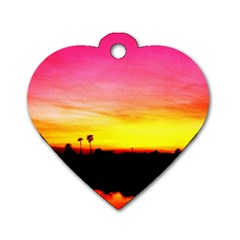 Pink Sunset Single Sided Dog Tag (heart)