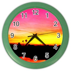 Pink Sunset Colored Wall Clock