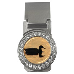 Lone Duck Money Clip with Gemstones (Round)