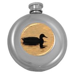 Lone Duck Hip Flask (Round)