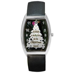 Jesus is the Reason Black Leather Watch (Tonneau)