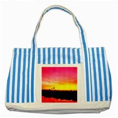Pink Sunset Blue Striped Tote Bag