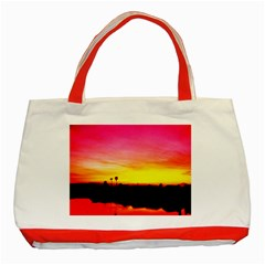 Pink Sunset Red Tote Bag