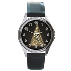 Christmas Tree Sparkle Jpg Black Leather Watch (Round)