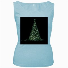 Christmas Tree Sparkle Jpg Baby Blue Womens  Tank Top