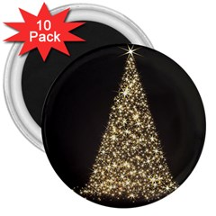 Christmas Tree Sparkle Jpg 10 Pack Large Magnet (Round)