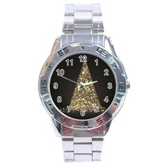 Christmas Tree Sparkle Jpg Stainless Steel Analogue Watch (Round)
