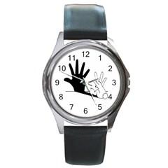 Rabbit Hand Shadow Black Leather Watch (round)