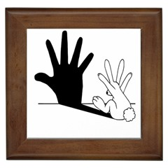 Rabbit Hand Shadow Framed Ceramic Tile