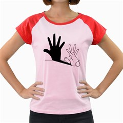 Rabbit Hand Shadow Colored Cap Sleeve Raglan Womens  T-shirt