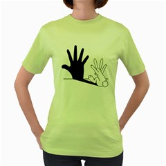 Rabbit Hand Shadow Green Womens  T-shirt