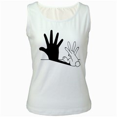 Rabbit Hand Shadow White Womens  Tank Top