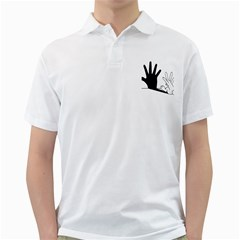 Rabbit Hand Shadow White Mens  Polo Shirt