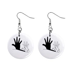 Rabbit Hand Shadow Mini Button Earrings