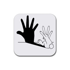 Rabbit Hand Shadow Rubber Drinks Coaster (Square)