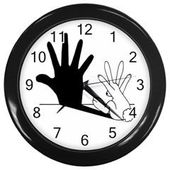 Rabbit Hand Shadow Black Wall Clock