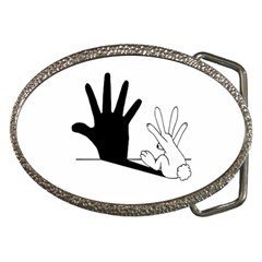 Rabbit Hand Shadow Belt Buckle (Oval)