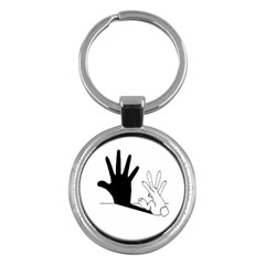 Rabbit Hand Shadow Key Chain (Round)