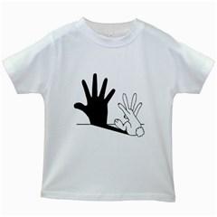 Rabbit Hand Shadow White Kids'' T-shirt