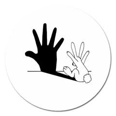 Rabbit Hand Shadow Extra Large Sticker Magnet (Round)