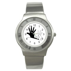 Rabbit Hand Shadow Stainless Steel Watch (round)