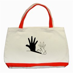 Rabbit Hand Shadow Red Tote Bag