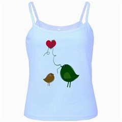 Love Birds Baby Blue Spaghetti Top
