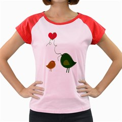 Love Birds Colored Cap Sleeve Raglan Womens  T Shirt
