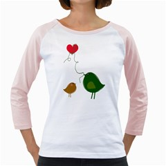 Love Birds White Long Sleeve Raglan Womens  T-shirt