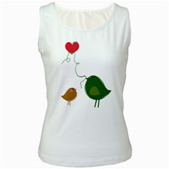 Love Birds White Womens  Tank Top